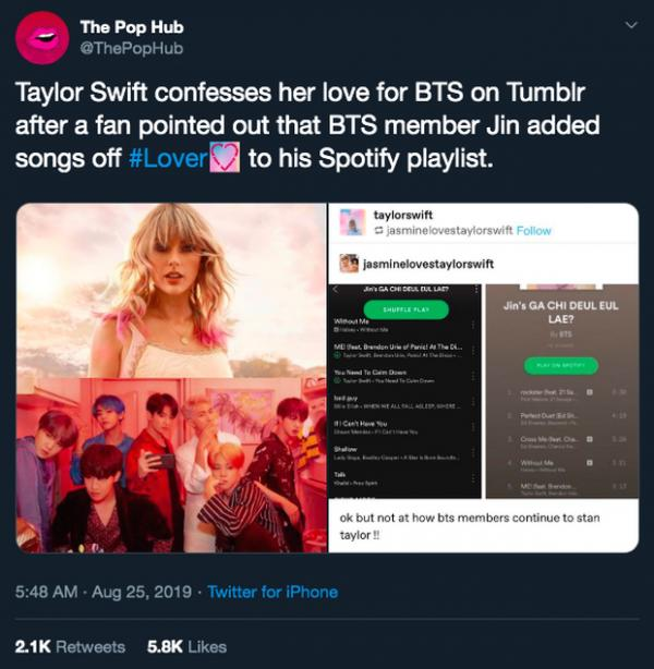 Taylor Swift was excited when the BTS member put the album