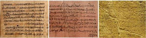 Từ trái qua phải ví dụ về các văn tự chữ Hieratic, Demotic và Coptic.