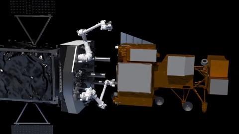 Cánh tay robot lắp đặt tàu vũ trụ.